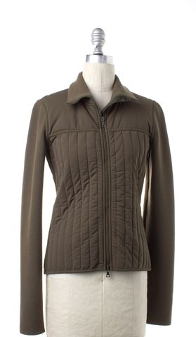 PRADA SPORT Olive Green Quilted Knit Zip Up Jacket