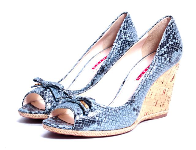 PRADA SPORT Gray Snake Print Embossed Leather Peep Toe
