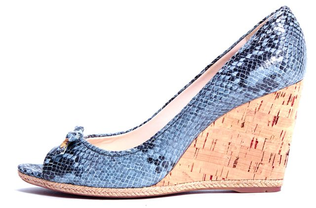 PRADA SPORT Gray Snake Print Embossed Leather Peep Toe
