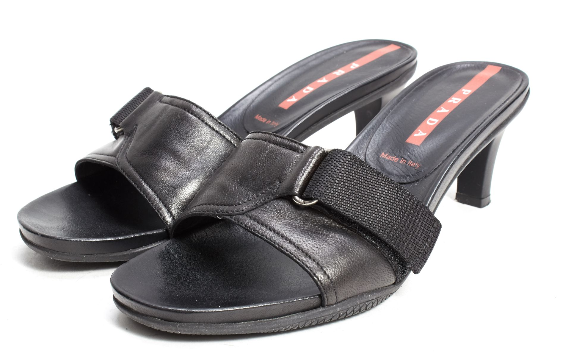 Black leather sandals low heel - Prada Sport Black Leather Low Heel Sandals