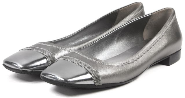 PRADA SPORT Silver Leather Cap Toe Ballet Flats