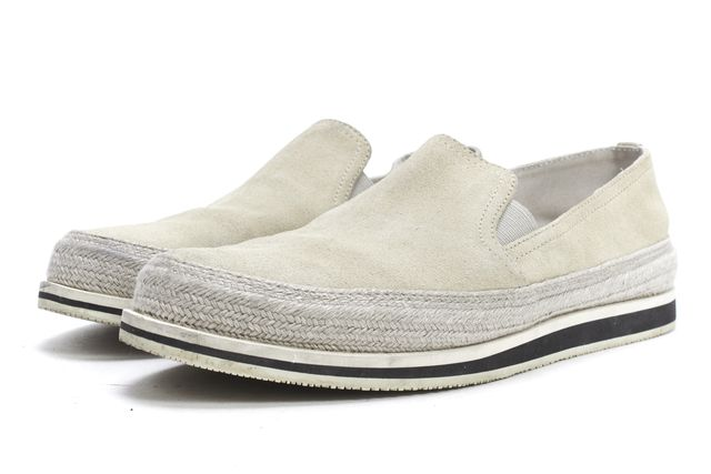 PRADA SPORT Ivory Suede Leather Tweed Combo Casual Slip-On Loafer Sneakers