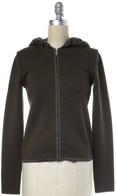 PRADA SPORT Olive Green Hooded Zip-Up Wool Basic Jacket