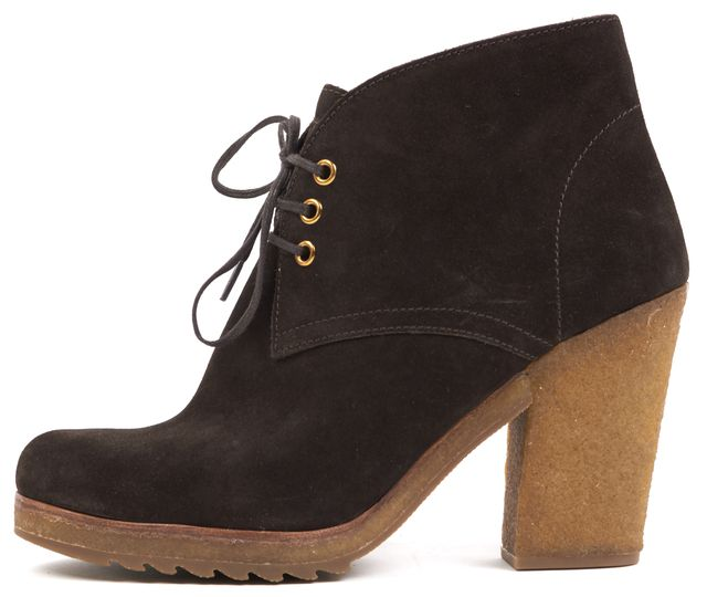 PRADA SPORT Brown Suede Lace Up Round Toe Gum Bottom Ankle Boots Heels