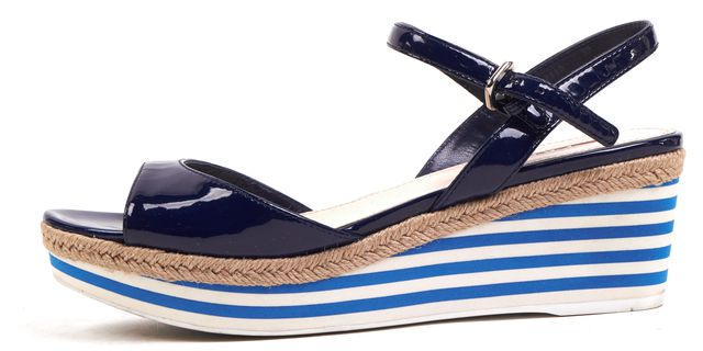 PRADA SPORT Navy Blue Patent Leather Ankle Strap Platform Wedge Sandals