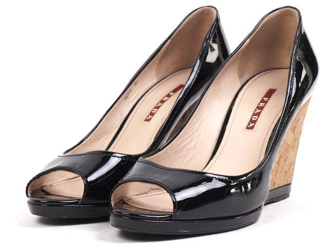 PRADA SPORT Black Patent Leather Peep Toe Cork Wedges