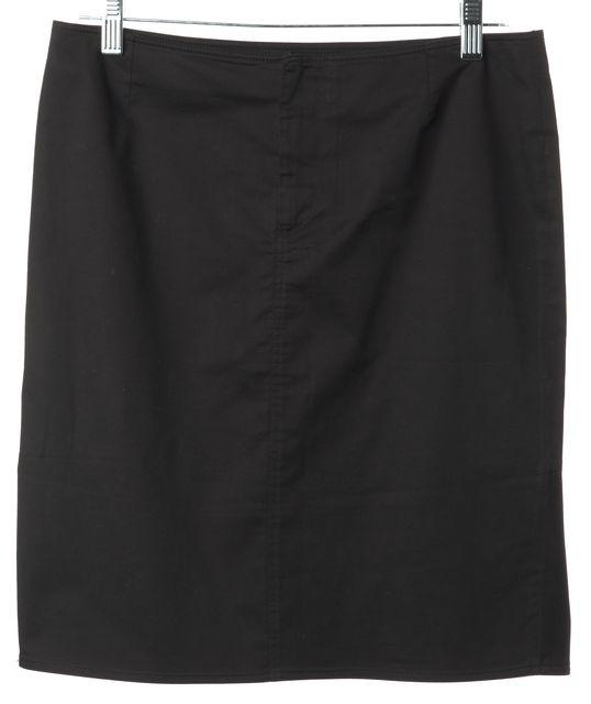 PRADA SPORT Black Stretch Cotton Pleated Back Straight Skirt