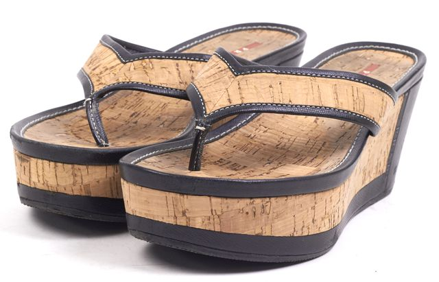 PRADA SPORT Black Beige Saffiano Leather Trim Cork Wedges
