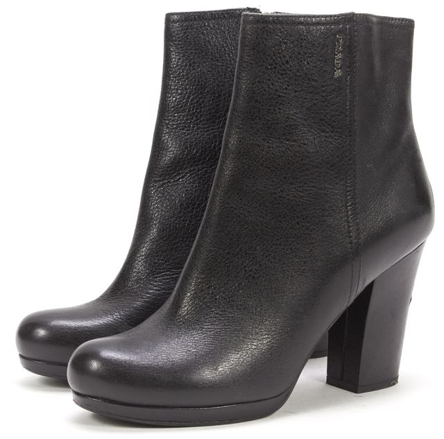 PRADA SPORT Black Leather Zip Up Round Toe Ankle Bootie