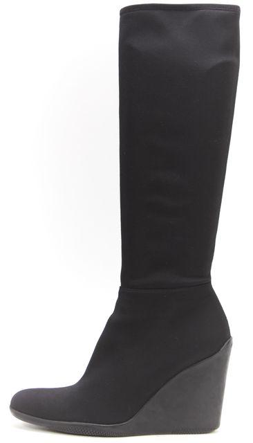 PRADA SPORT Black Stretch Nylon Wedge Knee-High Boots