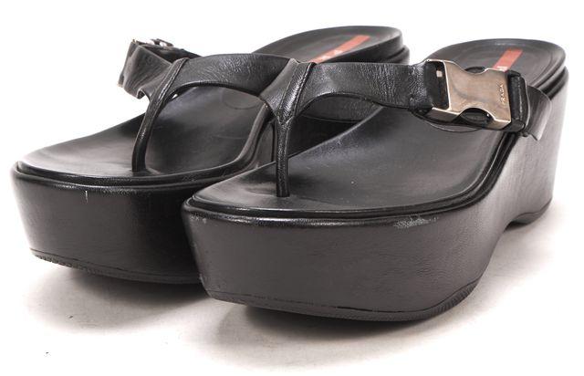 PRADA SPORT Black Leather Nappa Wedges