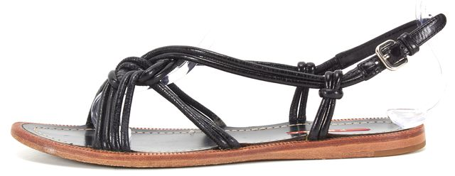 PRADA SPORT Black Leather Strap Sandals