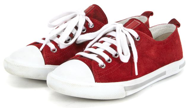 PRADA SPORT Red White Suede Low Top Sneakers