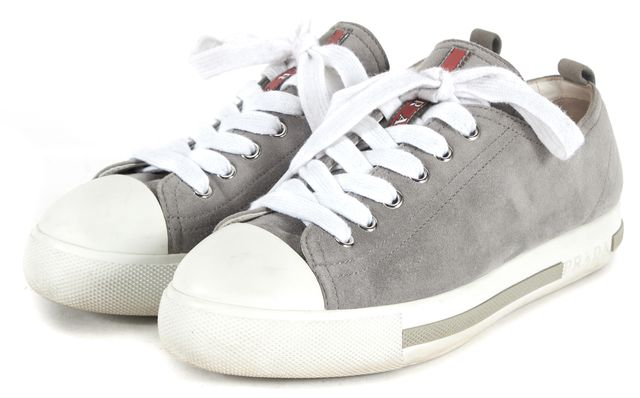 PRADA SPORT Gray White Suede Leather Sneakers