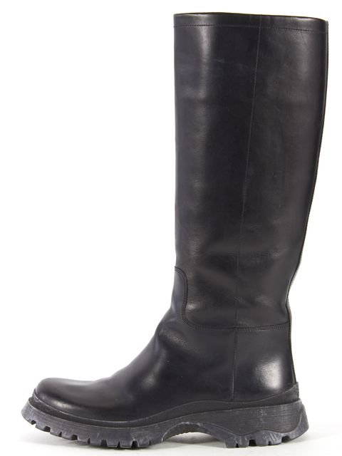 PRADA SPORT Black Leather Mid-Calf Tall Boots