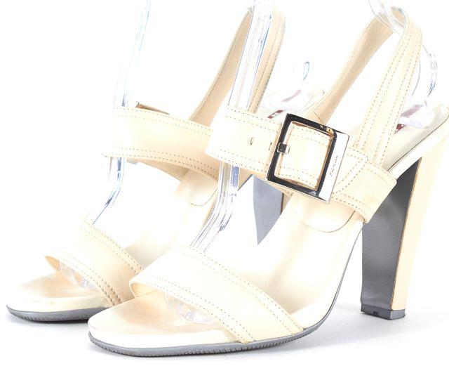 PRADA SPORT Ivory Leather Double Strap Sandal Heels