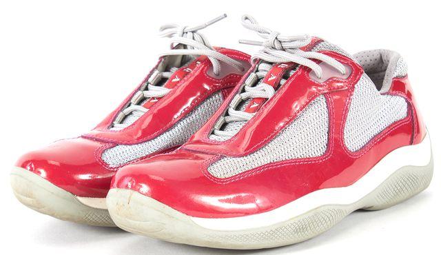 PRADA SPORT Pink Metallic Gray Patent Leather Mesh Sneakers