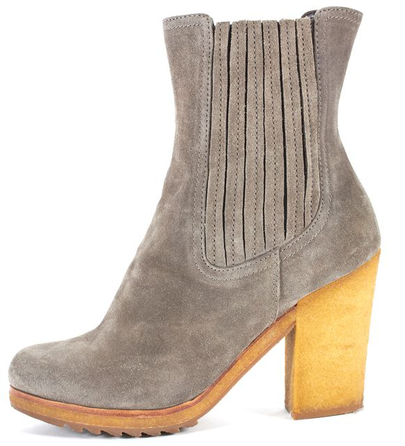 PRADA SPORT Gray Suede Crepe Sole Block Heeled Ankle Boot