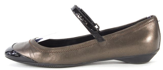 PRADA SPORT Metallic Brown Black Leather Mary Jane Flats