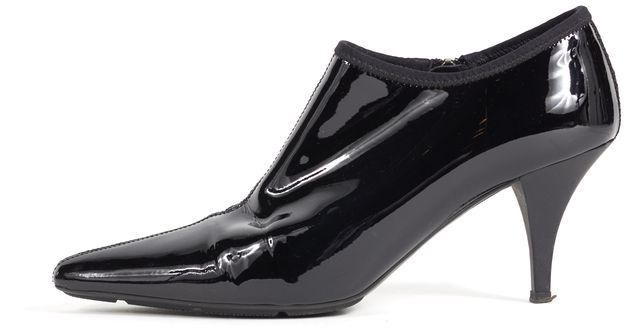 PRADA SPORT Black Patent Leather Pointed Toe Heeled Bootie