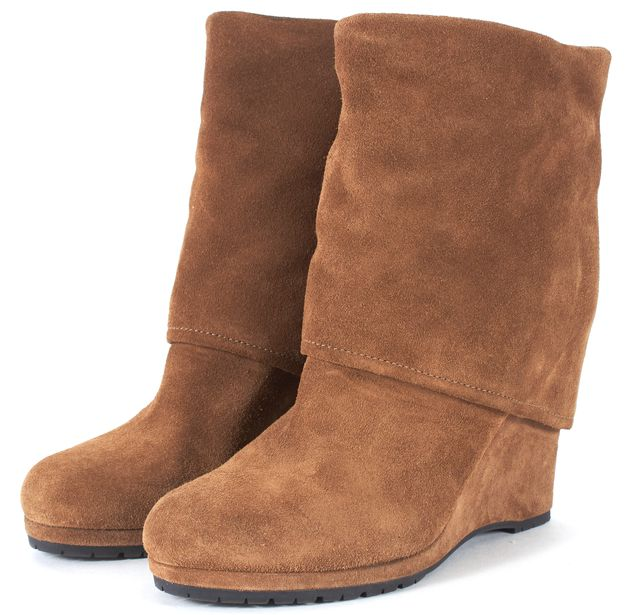 PRADA SPORT Brown Suede Fold-Over Wedge Ankle Boots