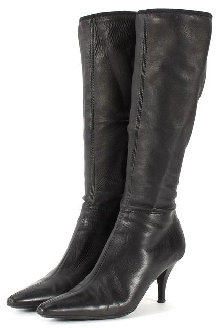 PRADA SPORT Black Leather Mid-Calf Pointed Toe Heel Boots