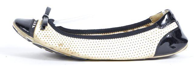 PRADA SPORT White Black Perforated Leather Ballet Flats