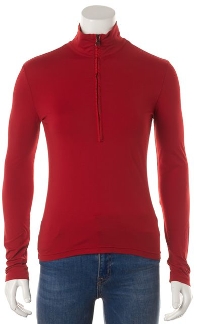 PRADA SPORT Red Stretch Long Sleeve Fitted Half Zip Top