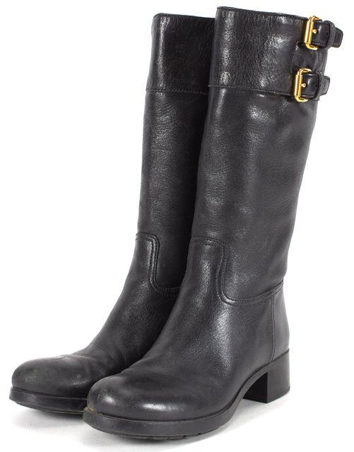 PRADA SPORT Black Leather Block Heeled Mid Calf Boots