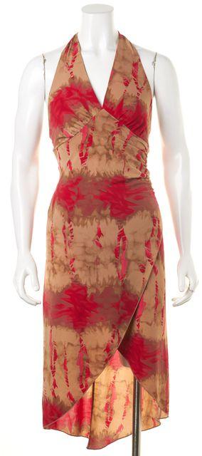 PRADA SPORT Beige Red Water Paint Halter Dress