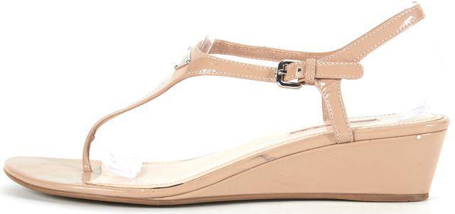 PRADA SPORT Beige Patent Leather Linea Rossa T-Strap Sandal Wedges