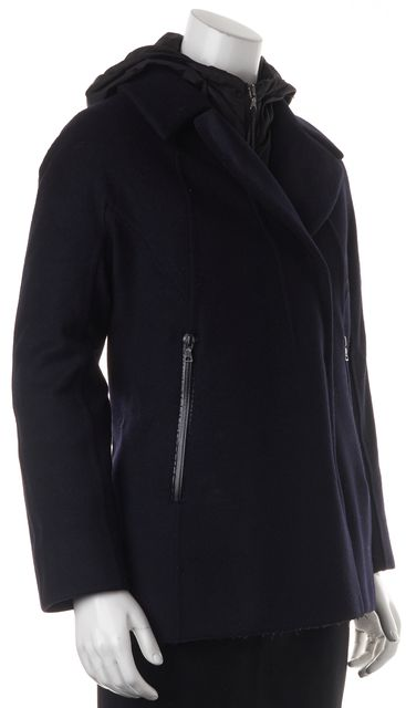 PRADA SPORT Black Wool Basic Coat