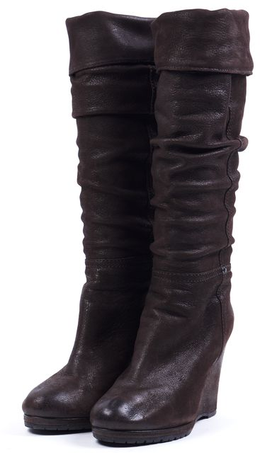 PRADA SPORT Chocolate Brown Leather Wedge Slouchy Knee-High Boots
