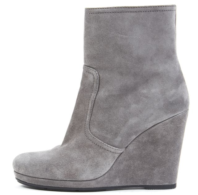 PRADA SPORT Gray Suede Leather Wedged Ankle Boots