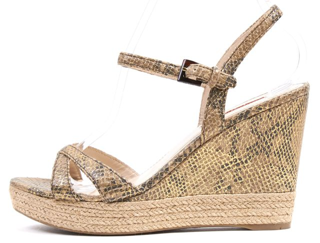 PRADA SPORT Beige Gold Snake Print Leather Espadrille Wedges