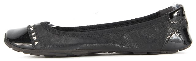 PRADA SPORT Black Leather Patent Cap Toe Ballet Flats Size IT 35.5 US 5.5