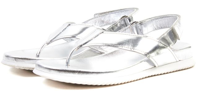 PRADA SPORT Silver Metallic Leather Slingback Slip-On Sandals