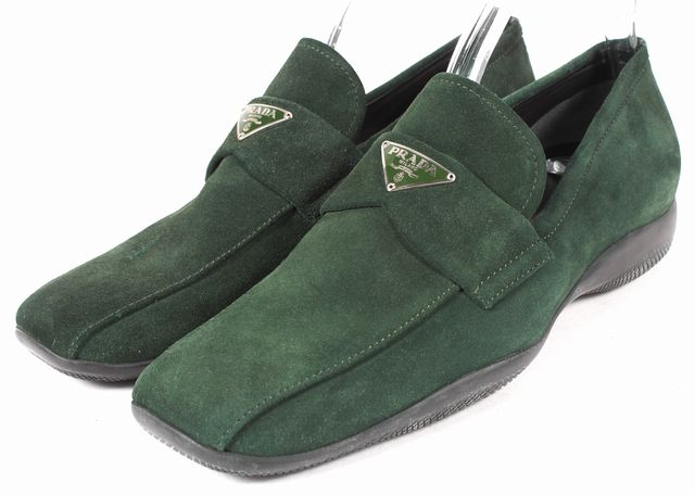 PRADA SPORT Hunter Green Suede Flat Loafers