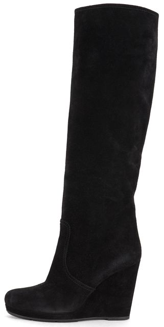 PRADA SPORT Black Suede Wedged Knee-High Boots