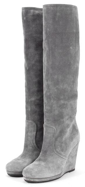PRADA SPORT Gray Suede Wedged Knee-High Boots