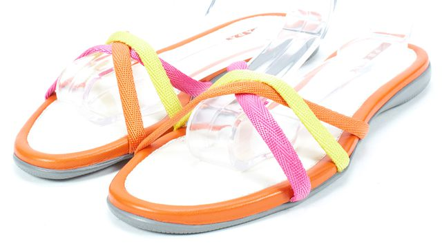 PRADA SPORT Orange White Pink Canvas Flat Slip-On Sandals