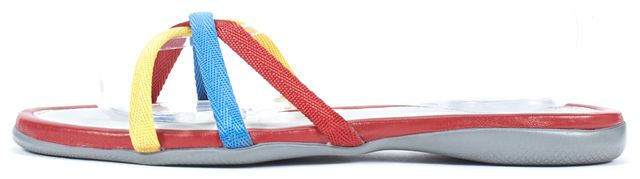 PRADA SPORT Red White Yellow Blue Canvas Flat Slip-On Sandals
