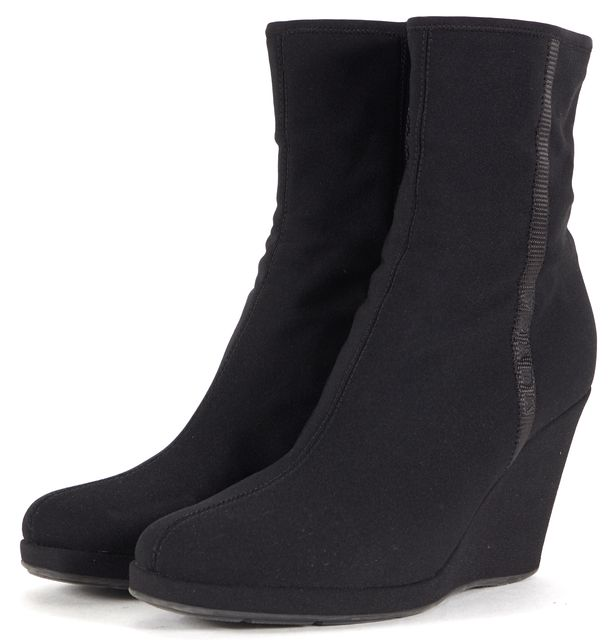 PRADA SPORT Black Nylon Wedged Ankle Boots