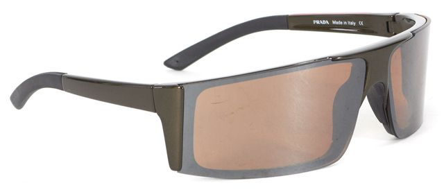 PRADA SPORT Metallic Brown Rectangular Shield Sunglasses w/ Case