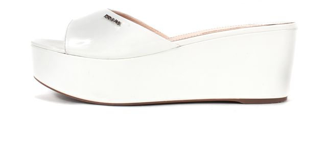 PRADA SPORT White Patent Leather Sandal Wedges