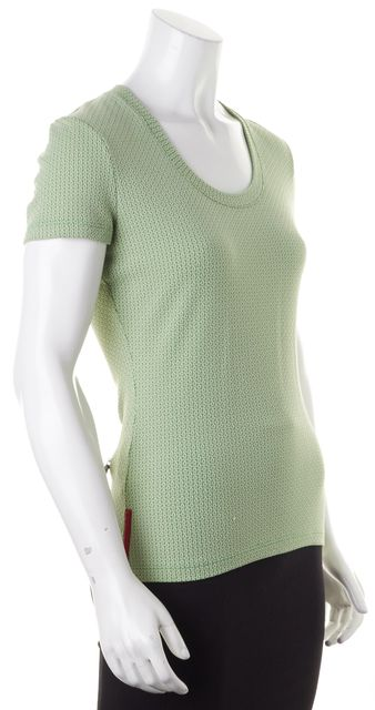 PRADA SPORT Granny Apple Green Short Sleeve Knit Top