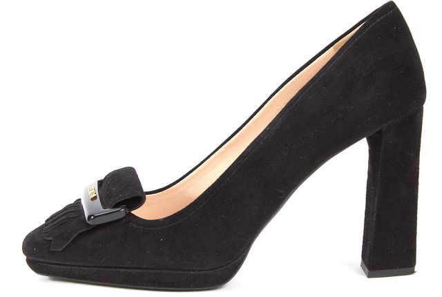 PRADA SPORT Black Suede Leather Platform Loafer Heels