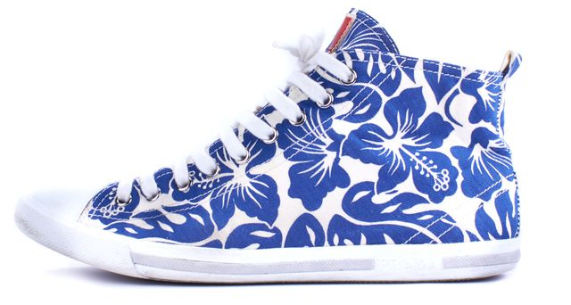 PRADA SPORT Blue White Floral Sneakers