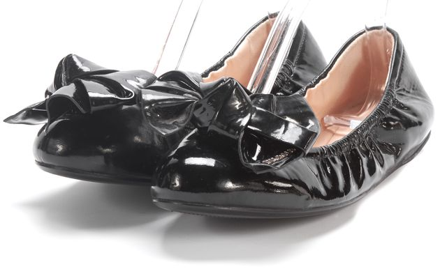PRADA SPORT Black Patent Leather Bow Embellished Ballerina Flats