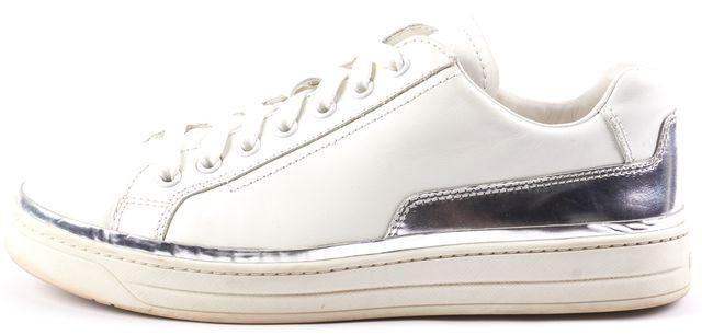 PRADA SPORT White Leather Lace Up Sneakers Silver Metallic Trim